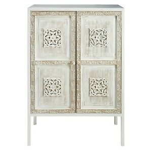 Made to Order Floral Hand Carved Solid wood Metal Sideboard White M