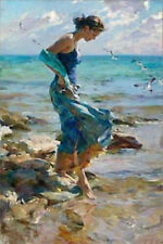 Modern Art Oil Painting on canvas--Girl at the beach(no framed)