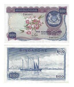 SINGAPORE $100 Dollars 1967, P-6a Tan O-6a, A/1 Pfx, Orchid Series, AU 100% Orig