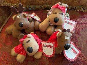 Lot 4 Hallmark Rodney Reindeer Family Bean Bag Plush Vtg Christmas NWT
