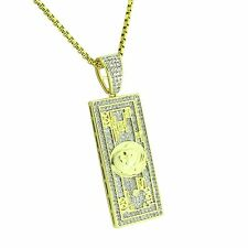 One Hundred Dollar Bill Pendant 14k Gold Tone IcedOut $100 Cash Money Free Chain