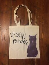 Vegan Bitches Beige Tote Bag - with Bettie the cat