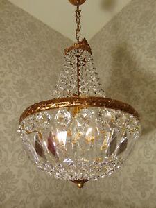 antik Kronleuchter Lüster Korblüster Messing  Gold Kristall Frankreich ca.1920