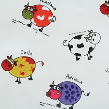 CHILDRENS COW PRINT PVC WIPECLEAN TABLE COVERING CLOTH GARDEN OUTDOOR OILCLOTH