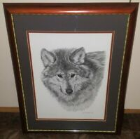 """Gini Adamson Portrait Of A Wolf Ltd Edition Signed Print Matted & Framed 16""""×20"""