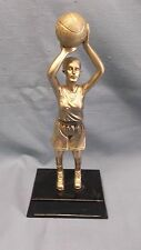 gold Basketball female trophy resin black base
