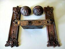 Antique Victorian Bronze Brass Door Knob Set - Mortise Lock Back Plates Spindle