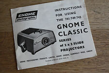 Instruction Book Gnome Slide Projector Classic Series 741 749 743 Instructions