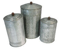 "Galvanized Canister Set Farmhouse Rustic Collection For Kitchen 12"" and 9"" and 7"