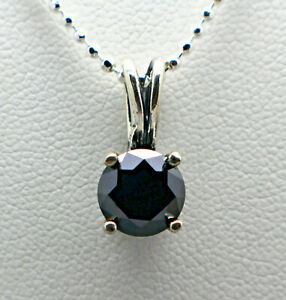 2.50cts 8.64mm Real Natural Black Diamond Pendant ONLY AAA Grade & $1450 Value..