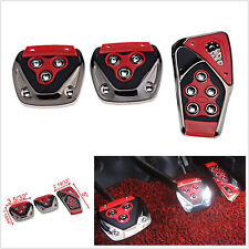 3 Pcs Red ABS Manual Car SUV Interior Brake Clutch Accelerator Non-Slip Foot Ped