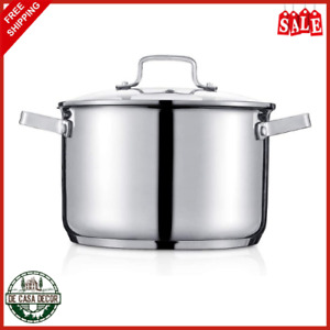 3.5 Quart Stock Pot With Glass Lid Long Lasting Stainless Steel Cookware Silver