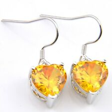 Woman Love Heart Natural Shiny Golden Citrine Gems Silver Dangle Hook Earrings