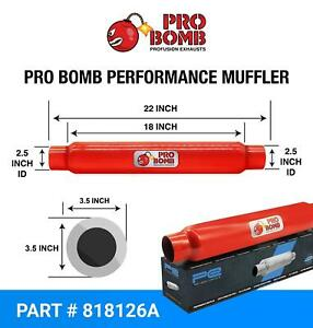 """2.5 inch 63mm 18"""" PRO Bomb glass Pack exhaust muffler silencer cherry Red Colour"""