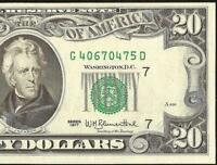 UNC 1977 $20 DOLLAR BILL FEDERAL RESERVE NOTE CRISP CURRENCY PAPER MONEY