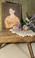 COLONIAL PRIMITIVE VICTORIAN VINTAGE FOLK ART STYLE GIRL PORTRAIT 8X10 CANVAS
