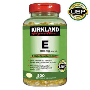 Kirkland Signature Vitamin E 400 IU, 500 Softgels, bottle, Exp 2023 or longer