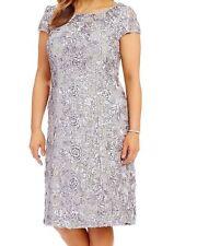 Alex Evenings NEW Silver Women's Size 16W Plus Soutache Sheath Dress $169- #923