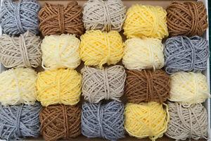 Earth Tones Yarn Wool Job Lot Knitting Crochet Pompom Crafts Toy Bundle DK