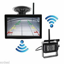 """Wireless IR Rear View Camera Night Vision Waterproof+5"""" Monitor for RV Truck Bus"""