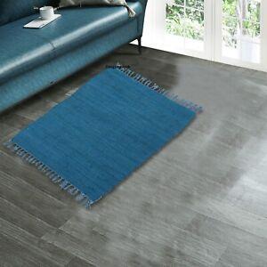 Rug 100% Natural Cotton 2x3 Feet Area Rug Home Decor Chindi Carpet Door Mat Rug