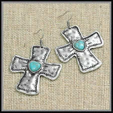 CHUNKY LONG BIKER WESTERN SILVER INDIAN TURQUOISE CROSS EARRINGS MOM christian