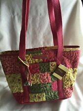 NEW DONNA SHARP SUMMER FUN PATCH LEAH TOTE BAG HANDBAG Pink Yellow Green
