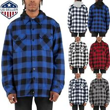 Mens Flannel Hoodie Jackets Long Sleeve Plaid Quilted Button Fleece Hip Hop