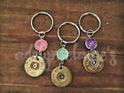 Purple Druzy Bullet Shell Key Ring Chain Purse Bag Charm Country Girl Handmade