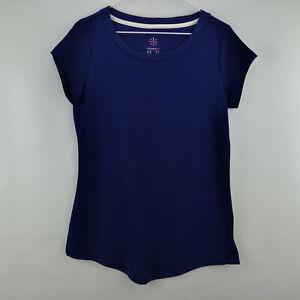Isaac Mizrahi Live! Essentials Scoopneck Knit T-shirt Royal Navy XS    A275455