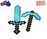 Minecraft Blue Sword and Pick Axe Combo Diamond Weapon Soft EVA foam