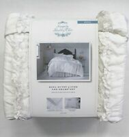 Simply Shabby Chic 3-Pc White Ruffle Lace Mesh Duvet Cover Sham Set Size King