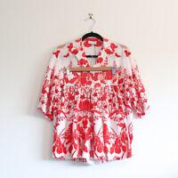 SCANLAN THEODORE silk bird shirt + palazzo short SET red white print top 6