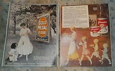"Lot of 2 old time advertising prints, Carnation Milk, Gold Medal Flour, 8"" x 10"""
