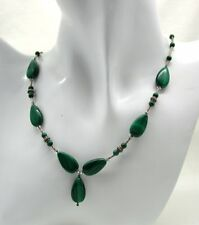 Vintage Very Nice Silver And Malachite Bead Necklace And Matching Earrings