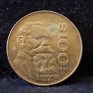 1990 Mexico 100 pesos, Venustiano Carranza Garza, KM-493                    /N59