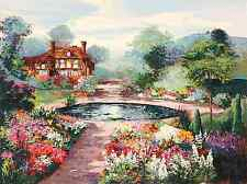"""Mark King - """"An English Water Garden"""", hand-signed serigraph on paper"""