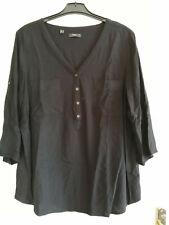 Damen Blusenshirt Gr.48 schwarz 3/4-Arm Viskose