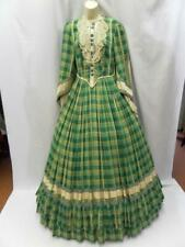 Vintage Charles Fox theatrical Victorian dress green check 12 Southern belle