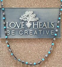"Love Heals 24"" Turquoise & White Bronze Daisy Braided Strand NEW retails $109.00"