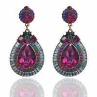 1Pair Full Colorful Rhinestone Flower Dangle Water Drop Earrings Elegant Jewelry