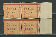 Canal Zone Sc 13 1904 ☀ 10c yellow Map,  block of 4 ☀ MNH**