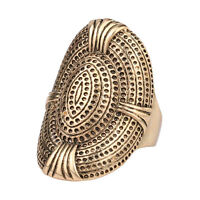 Vintage ancient rustic gold plated style oval midi  patterned women's gift ring!