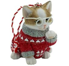 Tabby & White Cat Xmas Hanging Ornament in Red Approx 6cm H
