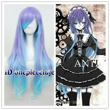 Purple Mixed Blue ANTI THE HOLiC LUKA 80cm Long Curly Cosplay Costume Anime Wig
