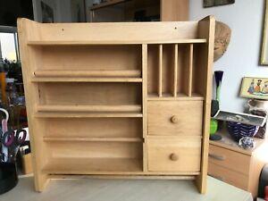 Vintage German  1980s Wood  Kitchen Wall Unit. Cabinet Cupboard Storage Display