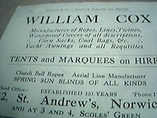 book cutting advert norwich 1929 william cox tents marquees hire st andrews
