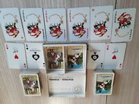 Vintage Piatnik Double Deck Playing Cards Old Print Hunting Horses, Austria