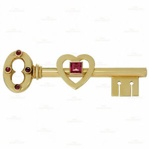 Retro Rare 1950s TIFFANY & CO. Pink Sapphire Rose Gold Key Brooch