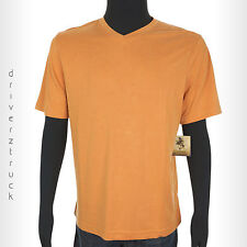CROFT & BARROW New! MEDIUM Apricot ORANGE SHIRT V-Neck CASUAL Island Collection